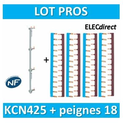 Hager - Répartition vertical 4 R + peigne d'alimentation 18M - KCN425+KB163NGx4+KB163PGx4