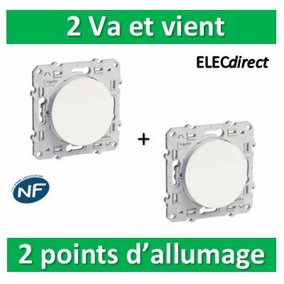 Schneider Odace - 2 Va-et-Vient 2 points d'allumage - 10A - 250V - s520204x2