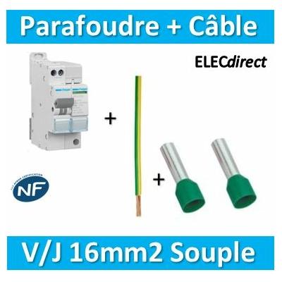 Hager - Parafoudre Mono auto-protégé 15KA + Câble 16mm2 L.50cm V/J souple + embouts
