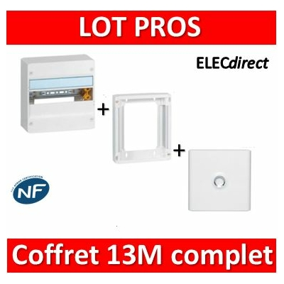 Legrand - LOT PROS - Coffret DRIVIA 13 Modules + porte + rehausse - 401211+401331+401371