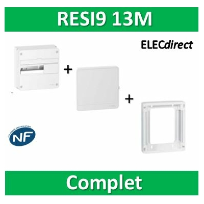 Schneider - LOT PROS - Coffret électrique RESI9 13 modules - 1R de 13M + rehausse + Porte