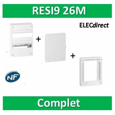 Schneider - LOT PROS - Coffret électrique RESI9 26 modules - 2 rangées de 13M + rehausse + Porte