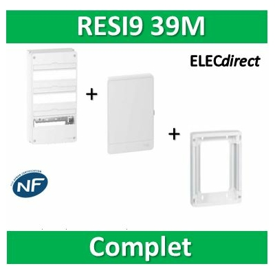Schneider - LOT PROS - Coffret électrique RESI9 39 modules - 3R de 13M + rehausse + Porte