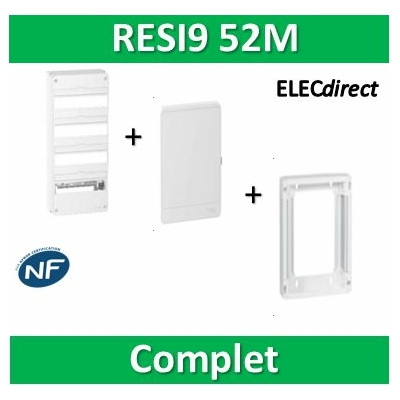 Schneider - LOT PROS - Coffret électrique RESI9 52 modules - 4R de 13M + rehausse + Porte