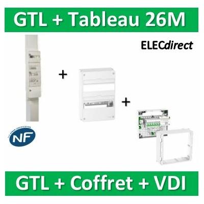 Schneider - Pack GTL 13M + Tableau RESI9 26M + VDI 6RJ45 - R9HKT13+R9H13402+390026
