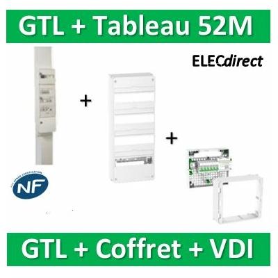 Schneider - Pack GTL 13M + Tableau RESI9 52M + VDI 6RJ45 - R9HKT13+R9H13404+390026