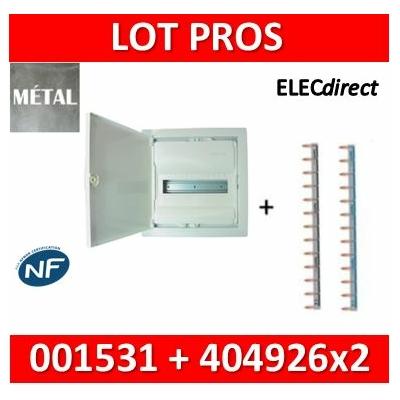 Legrand - Coffret encastré - porte métal extra plate - 1 rangée - 12+2 mod + Peignes Ph+N  - 001531+404926x2
