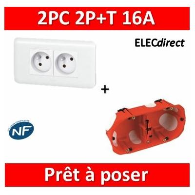 Legrand Mosaic - Prêt à poser - 2 Prises 2P+T 16A complet + boîte SIB 2 postes BBC