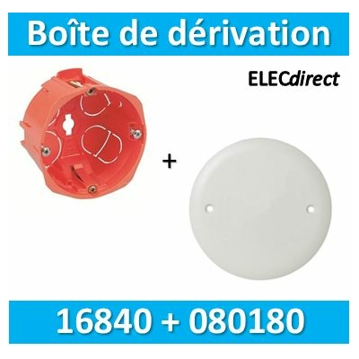 SIB - Boîte simple 1 poste P.40mm  + Couvercle universel D85mm = boîte de dérivation - 16840+080180