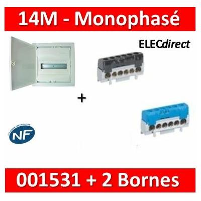 Legrand - Coffret encastré - porte métal extra plate - 1 rangée - 14M + bornes Ph+N - 001531+004816+004815