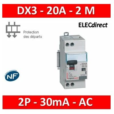 LEGRAND - Disjoncteur différentiel DX3 2P - 20A - 30mA - AC - 410706