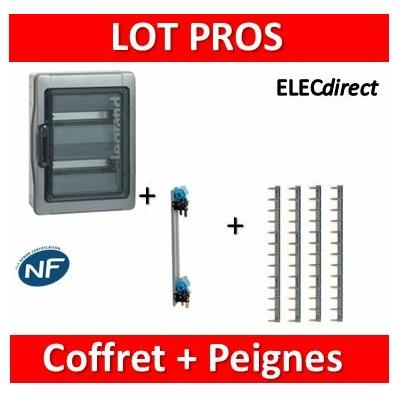 Legrand - Coffret étanche Plexo 24 modules + peigne V. et H. Ph+N - 2R - 001922+405003+404926x4
