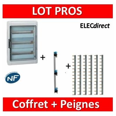 Legrand - Coffret étanche Plexo 36 modules + peigne V. et H. Ph+N - 3R - 001923+405004+404926x6
