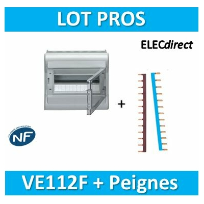 Hager - Tableau étanche IP55 - 12M + Peignes PH+N - VE112F+KB163N+KB163P