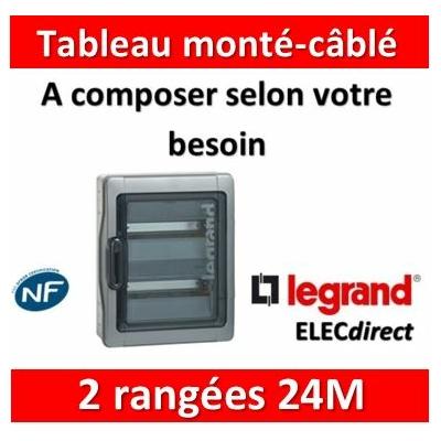 Legrand - Coffret Plexo monté-câblé 2 rangées - 24 modules