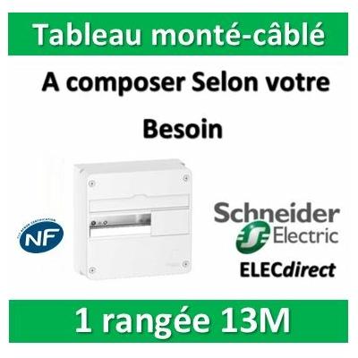 Schneider - Tableau monté-câblé 1 rangée 13 modules RESI9