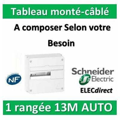 Schneider - Tableau monté-câblé 1 rangée 13 modules AUTO