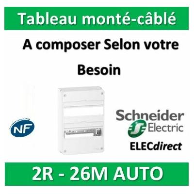 Schneider - Tableau monté-câblé 2 rangées 13 modules AUTO