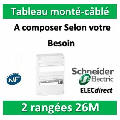 Schneider - Tableau monté-câblé 2 rangées 26 modules