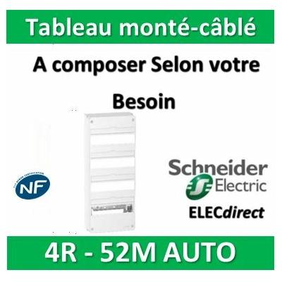 Schneider - Tableau monté-câblé 4 rangées 13 modules AUTO RESI9