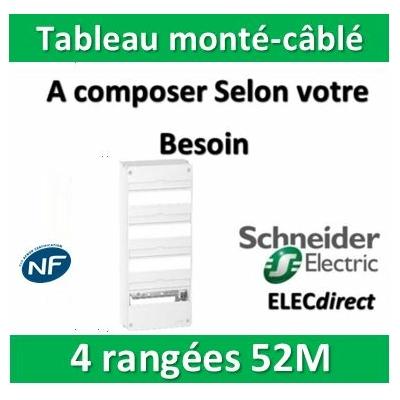 Schneider - Tableau monté-câblé 4 rangées 52 modules