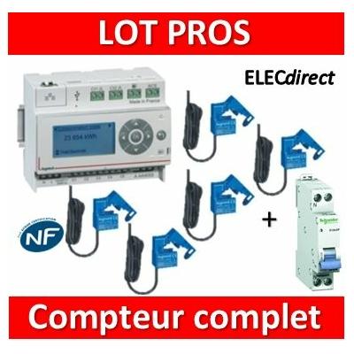 Legrand - ECOcompteur RT2012 - 5 entrées 230V MONO + Protection 2A - 412000 + 412002x5 + 20724