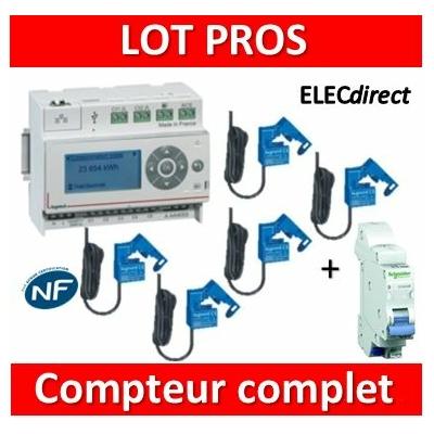 Legrand - ECOcompteur RT2012 - 5 entrées 230V MONO + Protection 2A - 412000 + 412002x5 + 16724