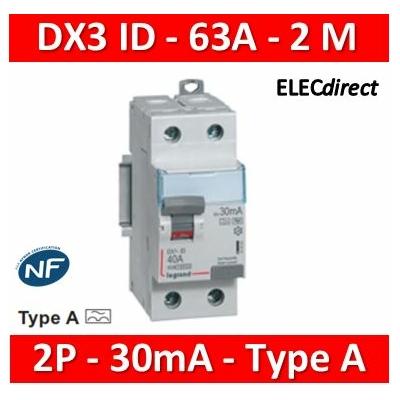 LEGRAND - Interrupteur Différentiel 2P - 63A - 30ma Type A Départ Bas - 411556