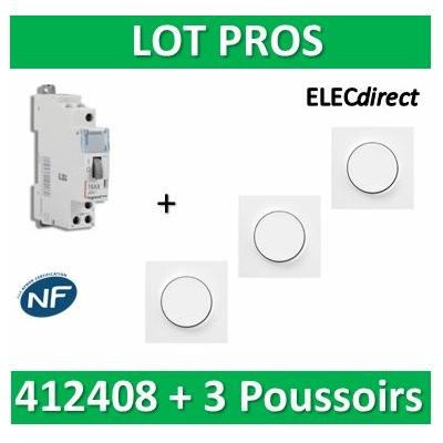 Legrand - Télérupteur CX3 - Unipolaire 16A + 3 Poussoirs Odace - 412408+s520702x3+s520206x3