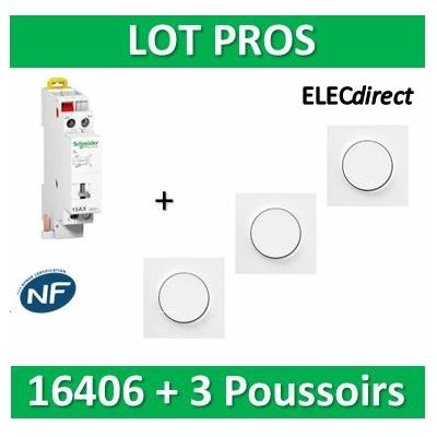 Schneider - Télérupteur - Unipolaire 16A + 3 Poussoirs Odace - 16406+s520702x3+s520206x3