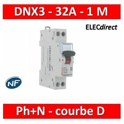 Legrand - Disjoncteur courbe D - DNX3 - 32A - Ph+N - 1M - 406805