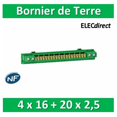 Schneider - Bornier de terre isolé coffrets RESI9/Pragma 4x16 + 20x2,5 - R9H13410