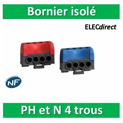 Schneider - Bornier isolé Ph et N 4 trous pour coffret RESI9 - R9H13405
