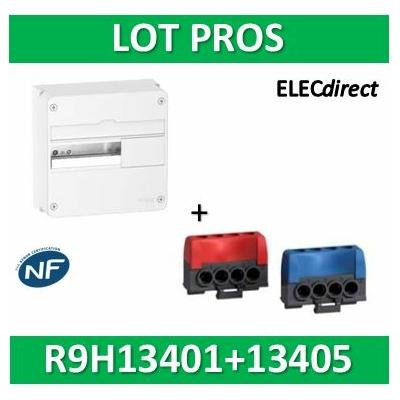 Schneider - LOT PROS - Coffret RESI9 1R 13M + Bornier isolé Ph et N 4 trous (4x16mm2) - R9H13401+R9H13405