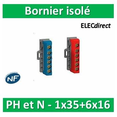 Schneider - Bornier isolé Ph et N 1x35mm2 + 6x16mm2 - pour coffret RESI9 - R9H13411