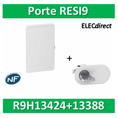Schneider - Resi9 - porte styl Blanc coffret 13M - 4R + serrure avec clé - R9H13424+R9H13388