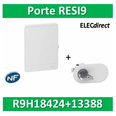 Schneider - Resi9 - porte styl Blanc coffret 18M - 4R + serrure avec clé - R9H18424+R9H13388