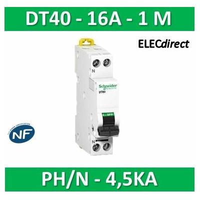 SCHNEIDER - Disjoncteur Ph/N 16A DT40 - 4,5KA - SCHA9N21104