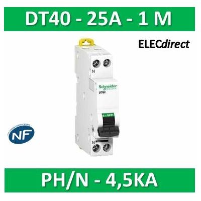 SCHNEIDER - Disjoncteur Ph/N 25A DT40 - 4,5KA - SCHA9N21106