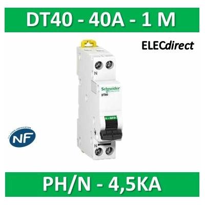 SCHNEIDER - Disjoncteur Ph/N 40A DT40 - 4,5KA - SCHA9N21108