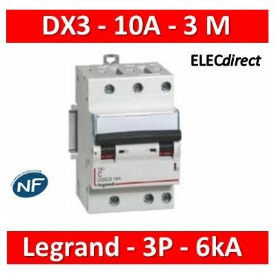 Legrand - Disjoncteur DX³ 4500 - vis/vis - 3P - 400 V~ - 10A - 6kA - courbe C - 406890