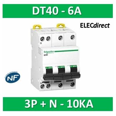 Schneider DT40N - Disjoncteur 3P+N - 6A - 10KA - courbe C - A9N21404