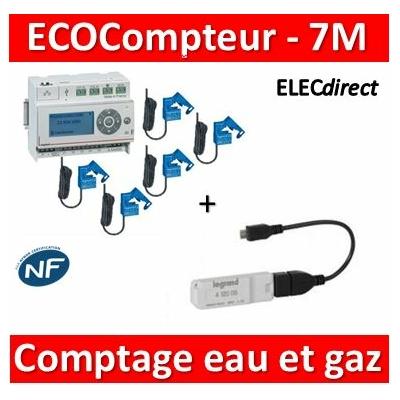 Legrand - ECOcompteur RT2012 + 5 Tores +  Module comptage Eau et Gaz - 412000+412002x5+412005