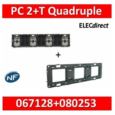 Legrand Céliane - Mécanisme Quadruple PC 2P+T 16A - Précâblée + support - 067128+080253