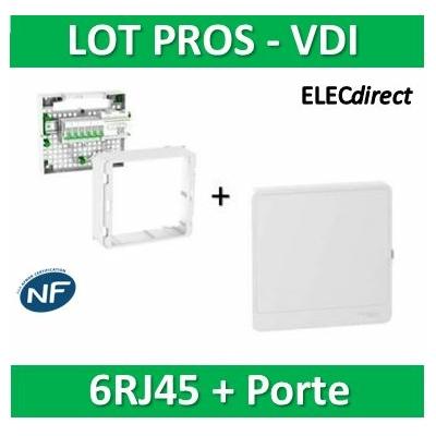 Schneider - Coffret VDI Grade 2 LexCom ECO-PACK 6 RJ45 + porte - VDIR390026+R9H13415