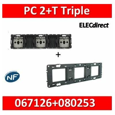 Legrand Céliane - Mécanisme Triple PC 2P+T 16A - Précâblée + support - 067126+080253