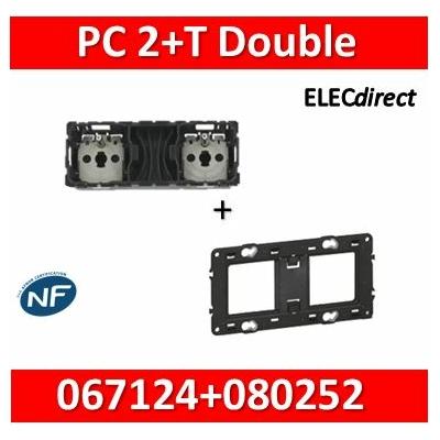 Legrand Céliane - Mécanisme Double PC 2P+T 16A - Précâblée + support - 067124+080252
