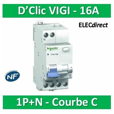 Schneider - disjoncteur  D'clic Vigi SI PH + N 16 A courbe C 30MA - 20569