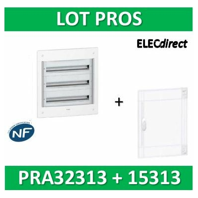 Schneider - Coffret électrique PRAGMA - encastré - 3R de 13M + porte transparente - PRA32313+PRA15313