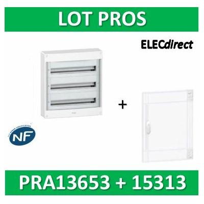 Schneider - Coffret électrique PRAGMA 39 modules - 3R de 13M + porte transparente - PRA13653+PRA15313